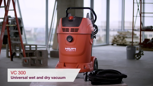Product video of Hilti's universal wet and dry vacuum cleaner VC 300-17 X