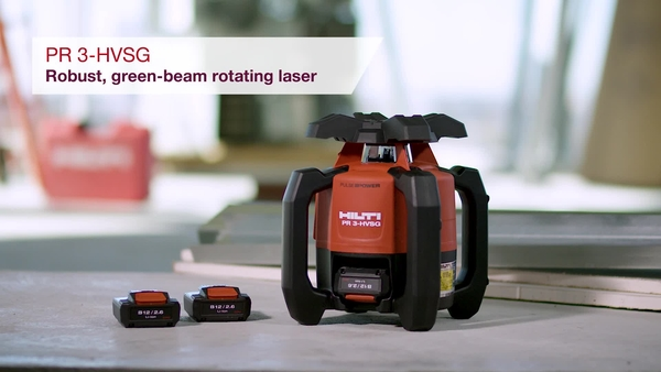 Product video of Hilti's green beam rotating laser PR 3-HVSG