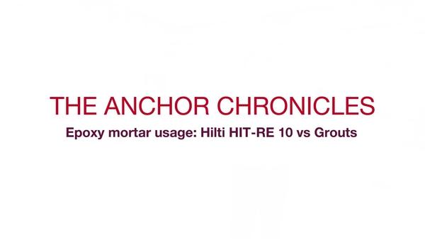 Anclaje HIT-RE 10: el peso y sus mitos. Video promocional (en serie) para el sistema HIT-RE 10, que compara la tecnología de inyección con la tecnología de mortero