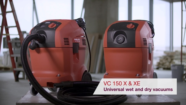 Product video of Hilti's universal wet and dry vacuum cleaners VC 150-6/10 X and VC 150-6/10 XE
