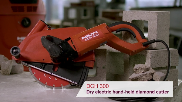 Product video of Hilti's dry electric hand-held diamond cutter DCH 300