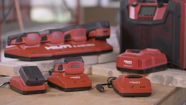 Product video of Hilti's multi-bay charger C 4/36-MC4