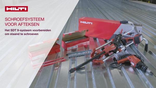Instructievideo: we leggen de eerste stappen uit voor gebruik van het Hilti SDT 9 speed gereedschap. Systeemoverzicht. Schroeven aan de zijkant. Schroeven om platen op frames te bevestigen.