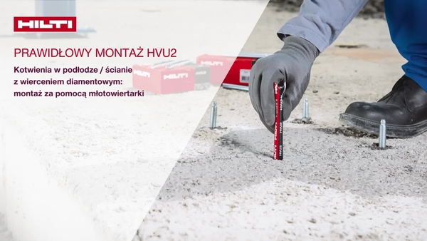 Instalowanie HVU2 w podłodze / ścianie, przy użyciu wiertła koronowego diamentowego: osadzanie przy użyciu wiertarki udarowej