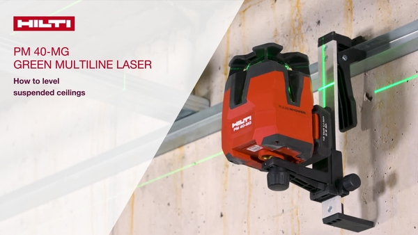 Level suspended ceilings with the PM 40-MG Green multiline laser. Use the wallmount to attach the tool on the ceiling track. Use the green target plate to level the ceiling.