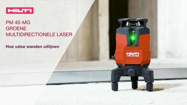Gipsplaat uitlijnen met PM 40-MG multidirectionele groene laser. Gebruik de ontvanger voor efficiënte bediening door één persoon bij het uitlijnen.