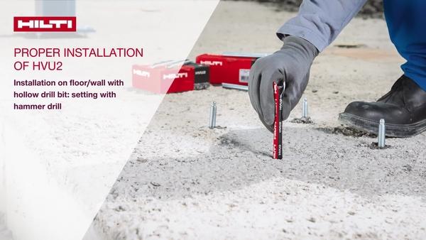 使用空心鑽頭並以電鎚鑽固定之下安裝到地板