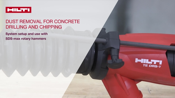 Instructional video on how to set up and use the Hilti DRS-Y dust removal system on Hilti combihammers.