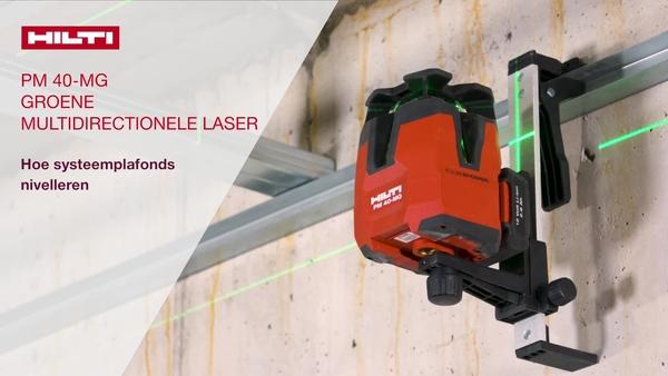 Lijn zwevende plafonds uit met de PM 40-MG groene multilijnlaser. Gebruik de wandmontage om het apparaat aan het plafondframe vast te maken. Gebruik de groene doelplaat om het plafond te nivelleren.