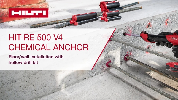 RE 500 V4 tozsuz delme ucuyla zemine/duvara montaj.