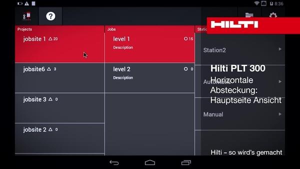 """PLT 300 – Horizontales Abstecken: Ansicht """"Startseite""""."""