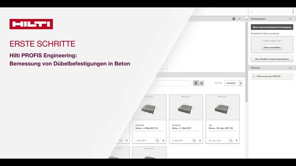 Anleitungsvideo: Erfahren Sie mehr über die Funktionen und Einstellungen in Hilti PROFIS Engineering und wie Sie Ihre Bemessung anpassen sowie die Beton- und Grundplatteneigenschaften ändern können.