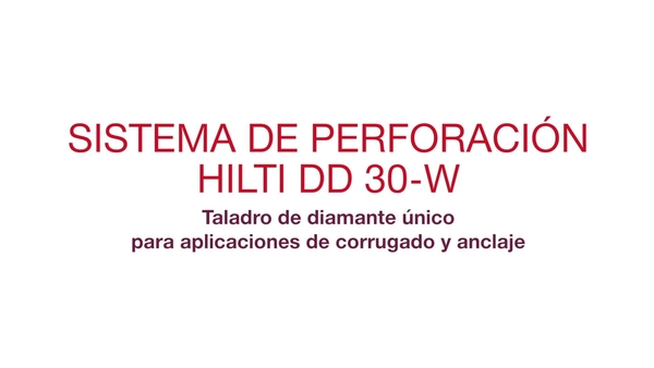 Video promocional: sistema de perforación de diamante exclusivo para aplicaciones de anclajes e instalación de corrugados (español)