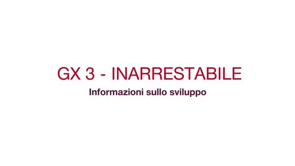 GX 3 - Inarrestabile. Informazioni sullo sviluppo. Video promozionale che mostra lo sviluppo dell'attrezzo GX 3, inclusa la sua resistenza al tempo freddo e la sua tecnologia anti-inceppamento