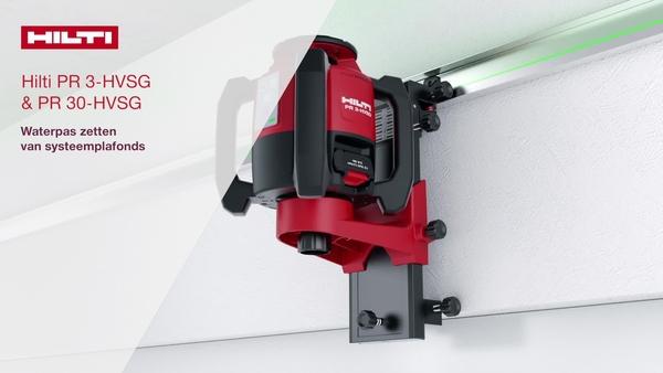 Instructievideo die stap voor stap laat zien hoe u onze groene roterende lasers PR 3-HVSG en PR 30-HVSG gebruikt voor het horizontaal nivelleren van zwevende plafonds.