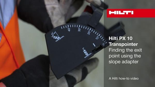 PX 10 – Auffinden des Austrittspunktes mit dem Neigungsadapter.