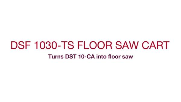 Instrucciones para desplegar el carro e instalar la sierra DST 10-CA para realizar tareas de corte. (inglés)