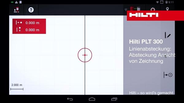 """PLT 300 – Abstecken von Linien: Ansicht """"Abstecken"""" aus Zeichnung."""