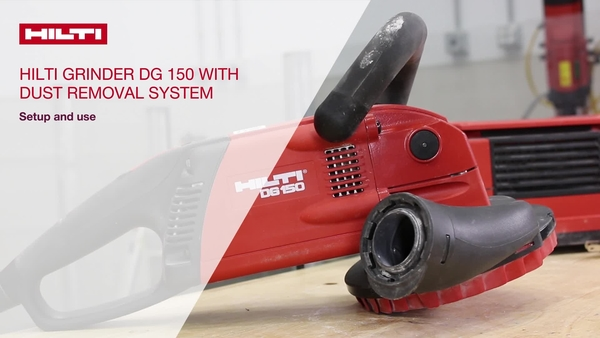 Instructional video on how to set up the Hilti DG 150 concrete grinding system with a vacuum for dust removal.