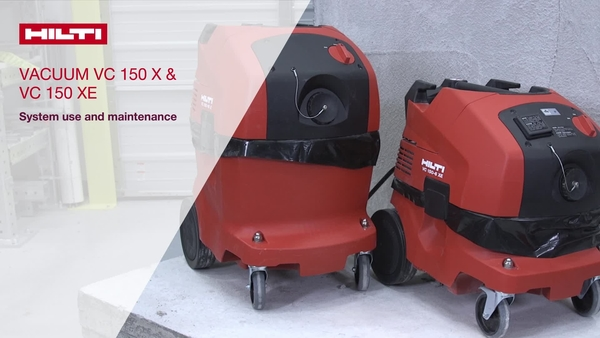 Instructional video on use and maintenance of the Hilti VC 150 X 6/10 and VC 150 X-E 6/10 vacuum system.
