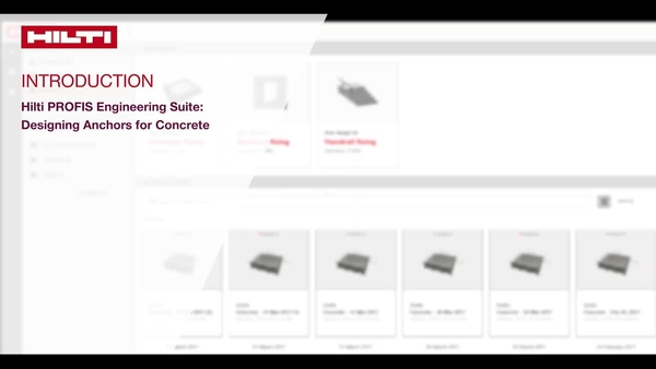 Video z navodili: Seznanite se s koraki pri zasnovi sidrišč v betonu hitro in natančno s pomočjo Hilti PROFIS Engineering Suite.