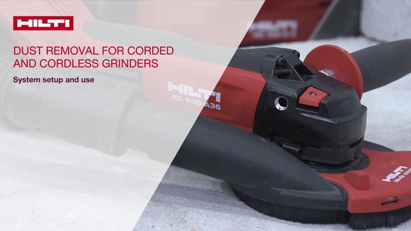 Instructional video on how to set up and use the dust removal accessories with Hilti corded and cordless grinders.