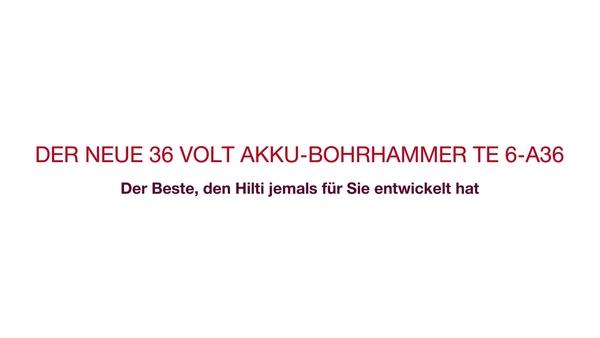 Testimonial-Video von Kunden und Entwicklern zum TE6-A36 – ein vielseitiger Akku-Bohrhammer mit 36V für überlegene Leistungen