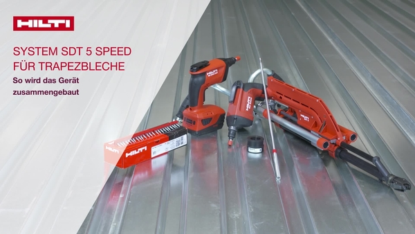 Anleitungsvideo zum Zusammenbau des Geräts: Wir erklären die ersten Schritte vor der Verwendung des Hilti SDT5 Geräts aus dem Speed Kit. So installieren/entfernen Sie den Adapter. Vom System empfohlener Akku. Akku B22/5,2Ah. (CH-DE)