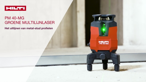 Lijn gipsplaat uit met de PM 40-MG groene multilijnlaser. Gebruik de ontvanger voor efficiënte bediening door één persoon haaks maken.