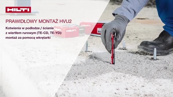 Instalowanie HVU2 w podłodze / ścianie, przy użyciu wiertła rurowego (TE-CD, TE-YD): osadzanie przy użyciu wkrętarko-wiertarki
