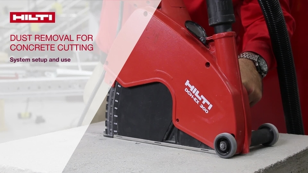 Instructional video on how to set up the Hilti DCH-EX 300 concrete cutter with a vacuum for dust removal.