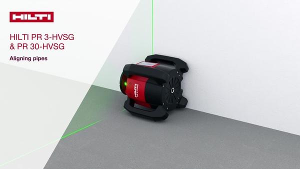Anleitungsvideo, in dem in Schritten gezeigt wird, wie unsere grünen Rotationslaser PR 3-HVSG und PR 30-HVSG beim Ausrichten von Rohren eingesetzt werden.
