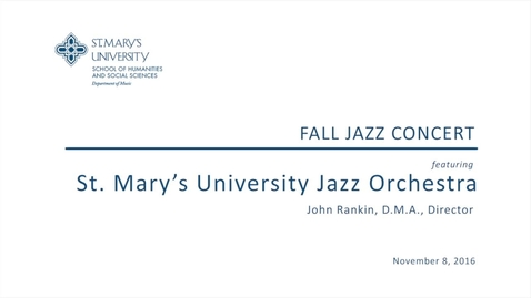 Thumbnail for entry Fall Jazz Concert--November 8, 2016