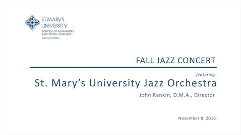 Thumbnail for entry Fall Jazz Concert--November 8, 2016