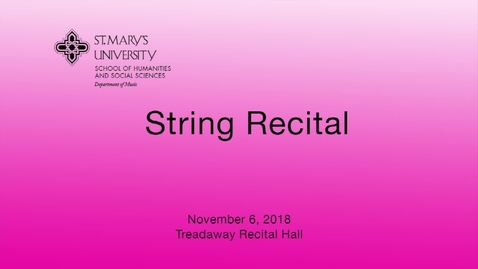 Thumbnail for entry String Recital -- November 6, 2018