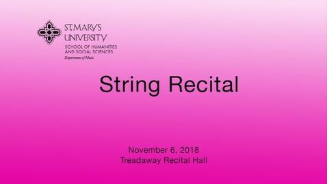 Thumbnail for entry String Recital -- November 6, 2018