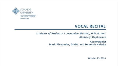 Thumbnail for entry Vocal Recital--October 25, 2016