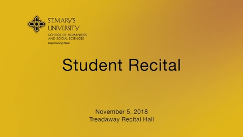 Thumbnail for entry Student Recital -- November 5,  2018