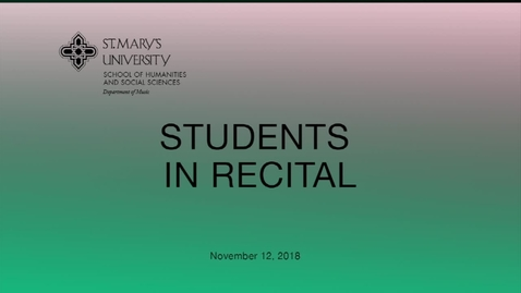 Thumbnail for entry Students in Recital -  November 12, 2018