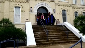 Thumbnail for entry Exiting out of St. Louis Hall--Spring 2019