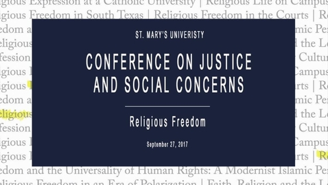 Thumbnail for entry The Rosenfield Family Lecture: Religious Freedom in the Courts / Sept. 27 2017, 2:30pm