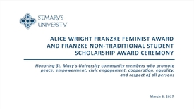 Thumbnail for entry Franzke Feminist Award and Scholarship Reception -- March 8, 2017