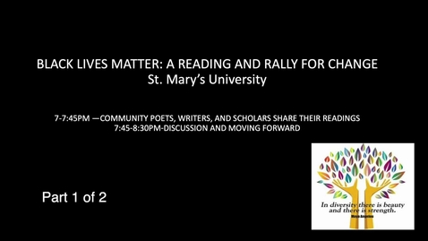 Thumbnail for entry Black Lives Matter: A Reading and Rally for Change -June 15, 2020 / Part 1 of 2