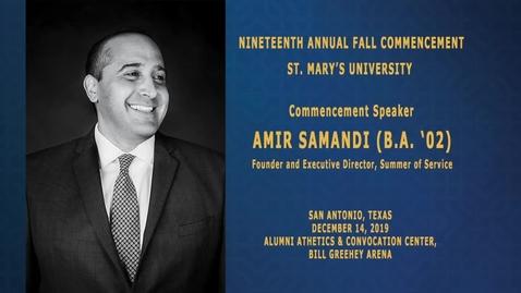 Thumbnail for entry Fall 2019 Commencement Speaker  Amir Samandi (B.A. '02)--December 14, 2019