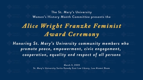 Thumbnail for entry Alice Wright Franzke Feminist Award Reception--March 3, 2020