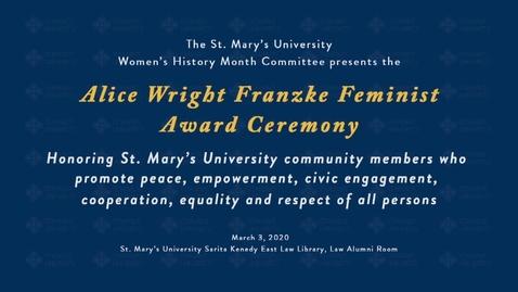 Thumbnail for entry Alice Wright Franzke Feminist Award Reception--March 3, 2020