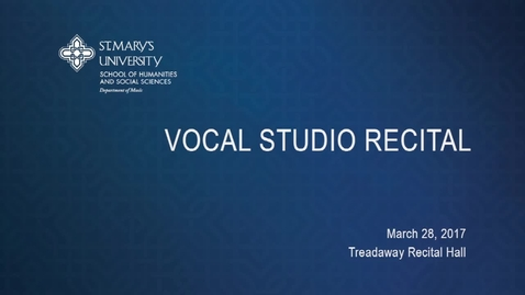 Thumbnail for entry Vocal Studio Recital ---March 28, 2017