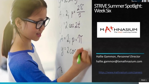 Thumbnail for entry STRIVE Summer Spotlight: Week Six