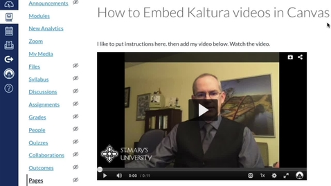 Thumbnail for entry Embed Kaltura Video