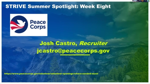 Thumbnail for entry Peace Corps - STRIVE Summer Spotlight
